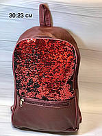 Школьный большой рюкзак с паетками перевертышами . Цвет марсала, фото 1