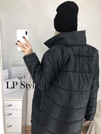 Черная куртка удлиненная женская, фото 2