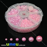 Набор полубусин в контейнере, Розовые, Круглые, 1 шт (KAB-022079)