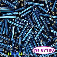 Бисер чешский Стеклярус 5 №67100, 10/0, Синий т. блестящий, 12 мм, 5 г (BIS-024346)