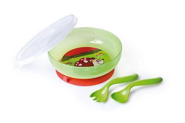 Тарелка с крышкой + ложка + вилка ТМ Canpol Babies