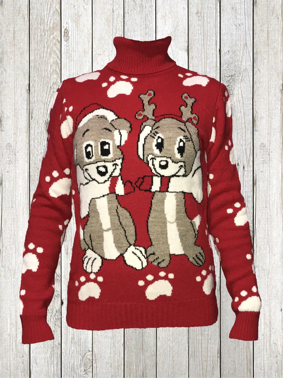 Женский шерстяной свитер Красного цвета