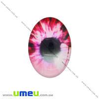 Кабошон стекл. с принтом Глаз, 18х13 мм, Розовый, Овал, 1 шт (KAB-018724)