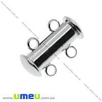 Магнитный замок-слайдер на 2 нити, Темное серебро, 16х10 мм, 1 шт (ZAM-016084)