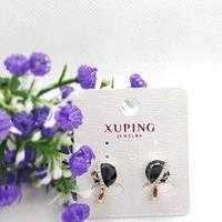 Серьги Xuping длина 1.5 см диаметр камешка 0,8 см застежка английская