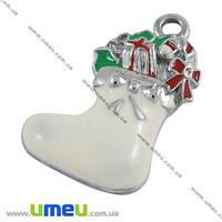 Подвеска металлическая Рождественский носок белый, Темное серебро, 23х14 мм, 1 шт (POD-008026)