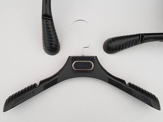 Плечики вешалки тремпеля TZ8830 с антискользящим ребристым плечом черного цвета, длина 38,5 см, фото 2