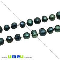 Бусина натуральный камень Жемчуг речной зеленый, 8-11 мм, 1 шт (BUS-023696)