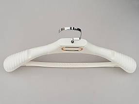 Плечики вешалки тремпеля TZP8830 с антискользящим ребристым плечом белого цвета, длина 38,5 см, фото 3