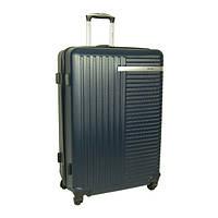 Большой синий чемодан пластиковый 4 колеса Skyflite Excel Navy (L) Валіза синя велика пластикова на 4 колесах