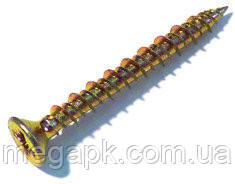 Саморез для ПВХ 4,3х25мм (HI-LO) с потайной головкой, желтый цинк