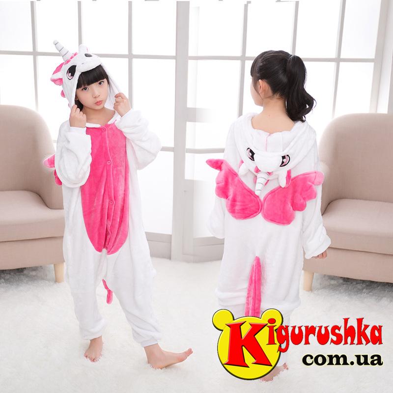 Кигуруми детский Единорог белый с розовым - Интернет-магазин