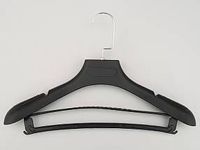 Плечики вешалки тремпеля TZP6681 с антискользящим ребристым плечом черного цвета, длина 39 см, фото 2