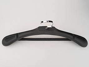 Плечики вешалки тремпеля TZP6682 с антискользящим ребристым плечом черного цвета, длина 44,5 см, фото 3