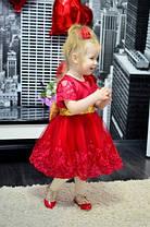 Платье нарядное детское  на девочку с бантом красное 2-6 лет, фото 3