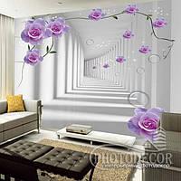 """Фотообои """"3D розы в туннеле 1"""", фото 1"""