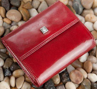 Прекрасный кожаный женский портмоне-кошелек VERUS Paris, артикул: 171R PAR красный, 171A PAR черный
