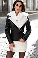 Куртка авиатор с большим воротником черного цвета