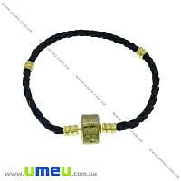 Основа для браслета PANDORA со стопперами (кожзам черный), Золото, 17 cм, 1 шт (OSN-007415)