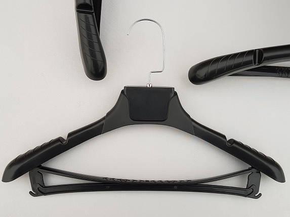Плечики вешалки тремпеля TZP8821 с антискользящим ребристым плечом черного цвета, длина 38,5 см, фото 2