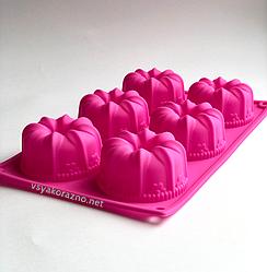 Силиконовая форма для выпечки в духовке (Куличи) розовая