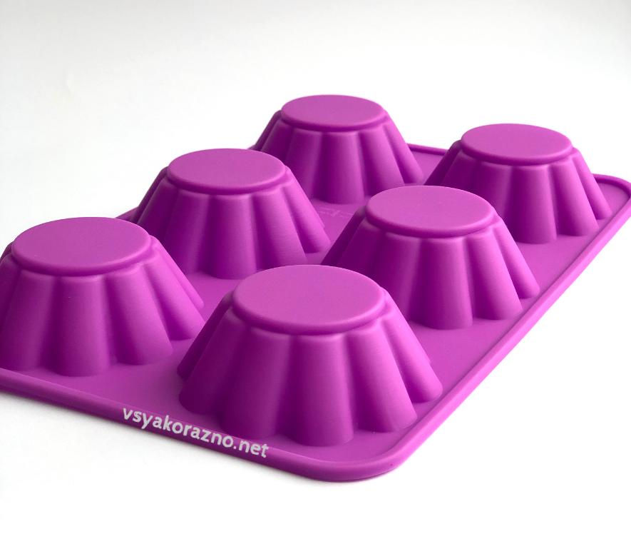 Силиконовая форма для выпечки в духовке (Кекс волна) розовая