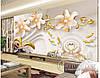 """Фотообои """"3D цветы с лебедям"""""""