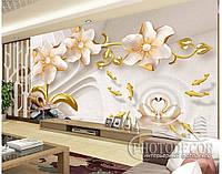 """Фотообои """"3D цветы с лебедям"""", фото 1"""