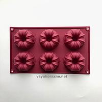 Силиконовая форма для выпечки в духовке (Куличи) бордовая