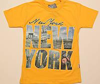 "Футболка подросток желтая ""New York"", размер 9-10,10-11,11-12"