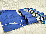 Именные пригласительные на свадьбу Monogram (синие), фото 3