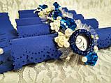 Именные пригласительные на свадьбу Monogram (синие), фото 2