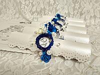 Именные приглашения на свадьбу Monogram (бело-синие)