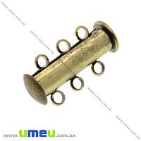 Магнитный замок-слайдер на 3 нити, Античная бронза, 20х10 мм, 1 шт (ZAM-016989)