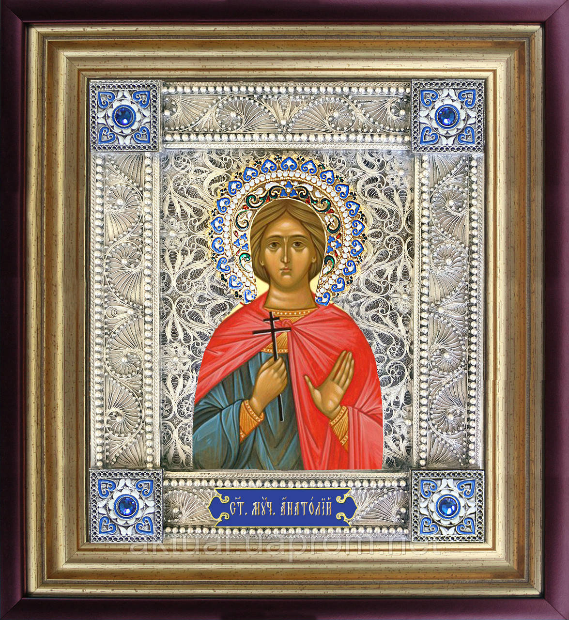 Святой Анатолий именная икона скань