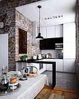 Кухня белая матовая в Лофт стиле
