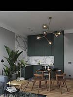 Кухня без ручек матовая серая с зеленым оттенком