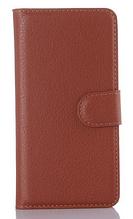Кожаный чехол-книжка для Samsung Galaxy A3 A310 коричневый
