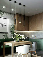 Кухня в лофт стиле зеленая краска матовая низ и верх шпон дуба натурального