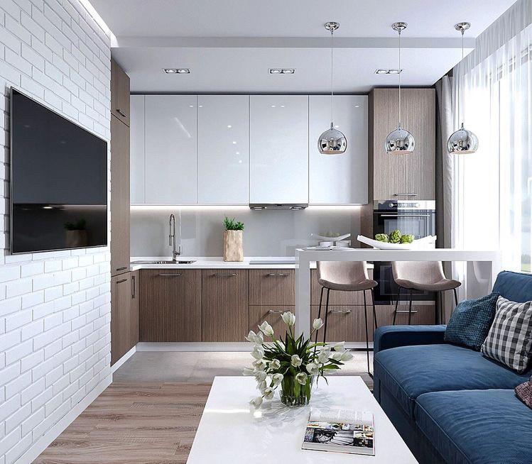 Кухня белая глянцевая сверху низ и пеналы шпон