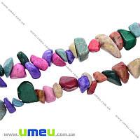 Скол (крошка) натуральный камень микс, 5-8 мм, 1 нить, (88-90 см), (BUS-021680)