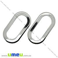Ручки для сумок врезные металлические, 11,5х6 см, Темное серебро, 1 комплект 54131c18ec9