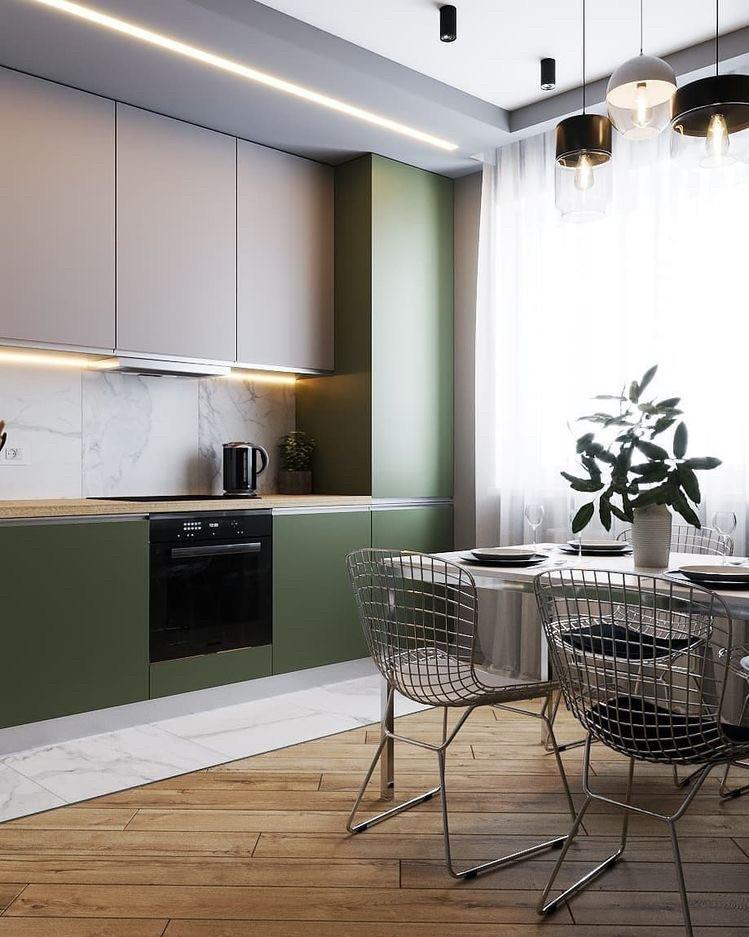 Кухня без ручек в стиле лофт зеленая серая матовая