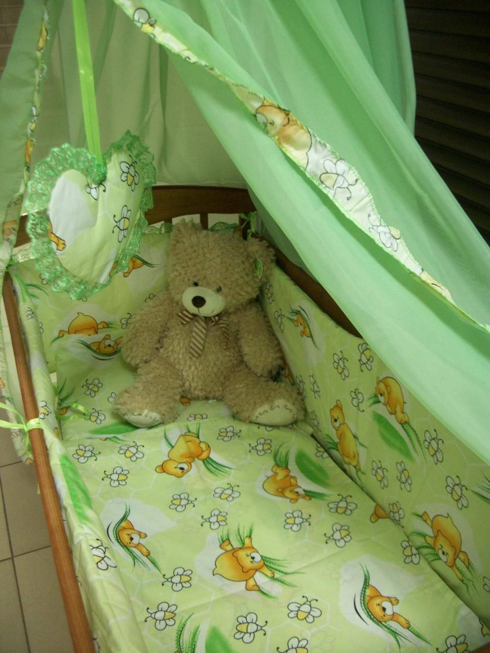 Постельное бельё в детскую кроватку Baby мишки с пчелками салат. 6 эл.