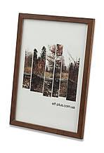 Рамка 10х10 из дерева - Сосна коричневая тёмная 1,5 см - со стеклом