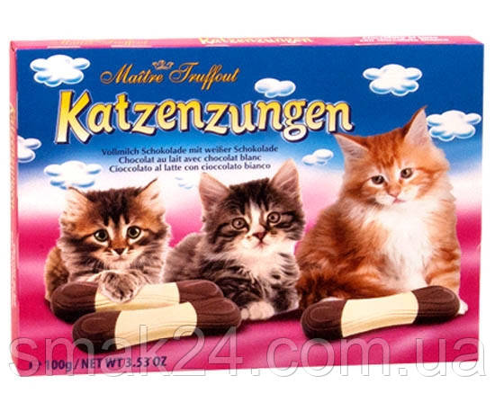 Шоколад молочный фигурный (Котята) Katzenzungen  Maitre Truffout 100г Австрия