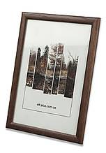 Рамка 10х10 из дерева - Сосна коричневая тёмная 2,2 см - со стеклом