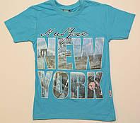 """Футболка для мальчика подросток голубая """"New York"""" , размер 9-13"""