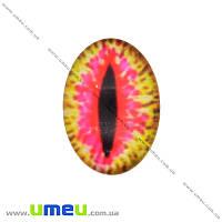 Кабошон стекл. с принтом Глаз, 18х13 мм, Розовый, Овал, 1 шт (KAB-018720)