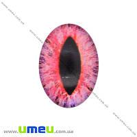 Кабошон стекл. с принтом Глаз, 18х13 мм, Розовый, Овал, 1 шт (KAB-018725)